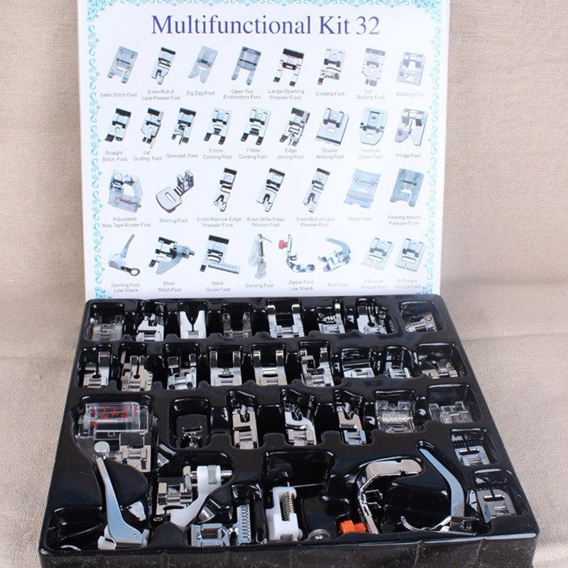 Inländische Nähmaschine Nähfuß Feet Kit Set Mit Box Brother Singer Janom Nähmaschinen Fuß Werkzeuge Zubehör Nähen Werkzeug