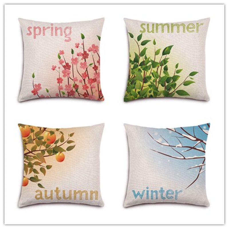 ᗑ】Four Season Natural Plant Printed Home Decorative Cojines Sofa