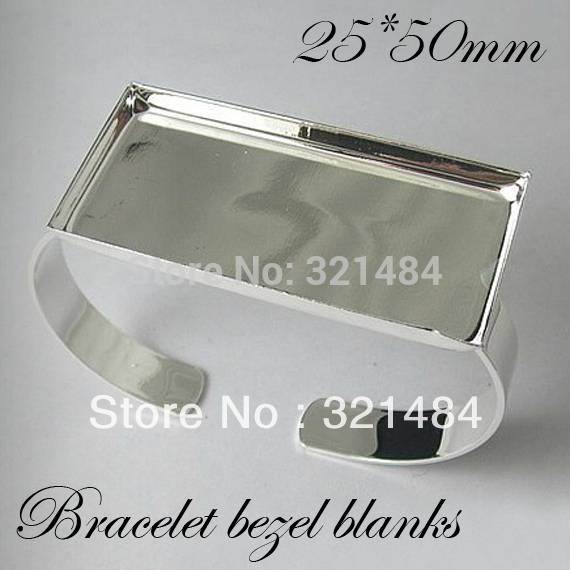 Bulk 100pcs Silver Plated Br Metal Cuff Bracelet Blanks W 25 50mm Rectangle Caps Bezels Cameo Cabochon Setting In Jewelry Findings Components From