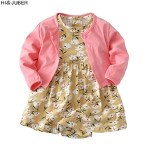 ФОТО baby cotton two-piece spring and summer new baby cotton short-sleeved dress skirt two sets of suits