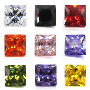 50pcs/lot 1.5*1.5mm~12*12mm 5A White, Olive, Purple, Black, Pink Square Shape Cubic Zirconia Stone Princess Cut Loose CZ Gems