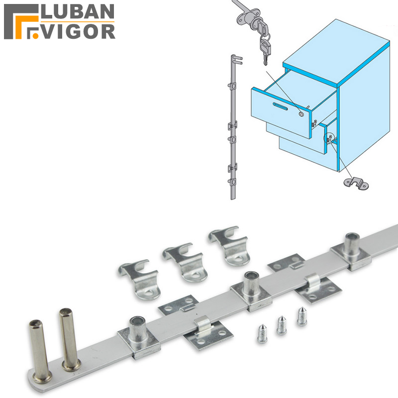 čelní boční zámek pro 3 zásuvky - Drawer lock,1 lock 3 drawers,Work desk File cabinets Side mounting Three interlocking ,Associated lock,Hardware