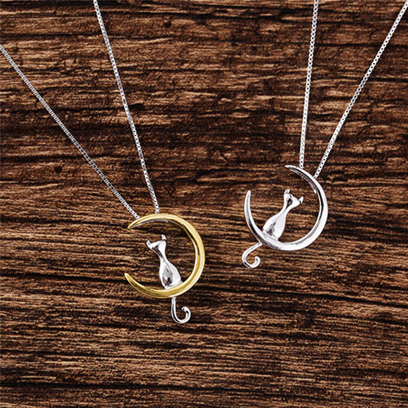 1Pc New Fashion Jewelry Silver Gold Moon Lovely Cat Necklaces Pendant Women Christmas Gifts Simple Temperament Cute Chain D10 (8)