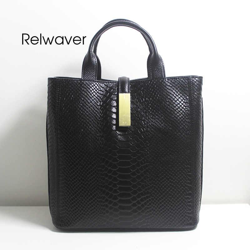 Relwaver женские сумки из натуральной кожи роскошный питоновый узор воловья кожа серый черный застежка молния средний бизнес женская сумка на плечо