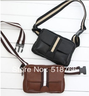 New Fashion Leather Waist Pack Casual Male Sports Messenger Shoulder Bag Free Shipping Wholesale