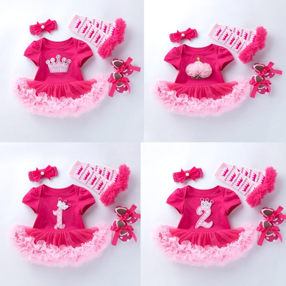 Marlegard/® Baby Girls 3PCs 1st Crown Birthday Tutu Dress with Headband Shoes