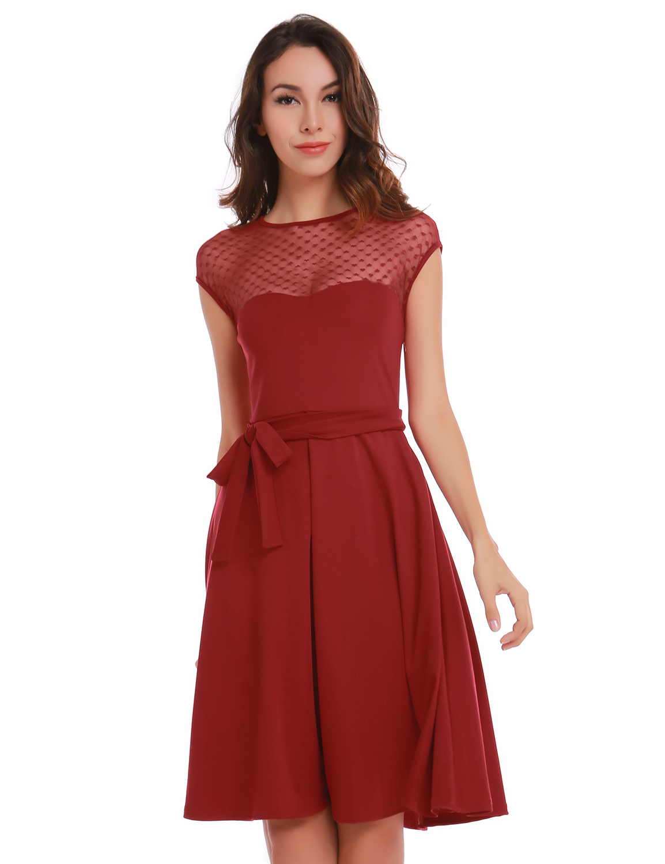 Heart Pattern Gauze Mesh Summer Dress Patchwork Swing ...