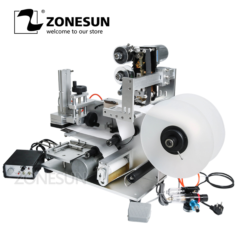 ZONESUN LT-60D Flat Labeling Machine Handheld Semi-Automatic Round Bottle Labeling Machine Trademark Labeling With Date Printing free shipping new type semi automatic round bottle labeling machine manual labler labeling machine china manufacturer