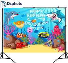DePhoto Baby Shark Birthday Party Photography Backdrops Cartoon Coral Underwater Poster Photo Background Studio