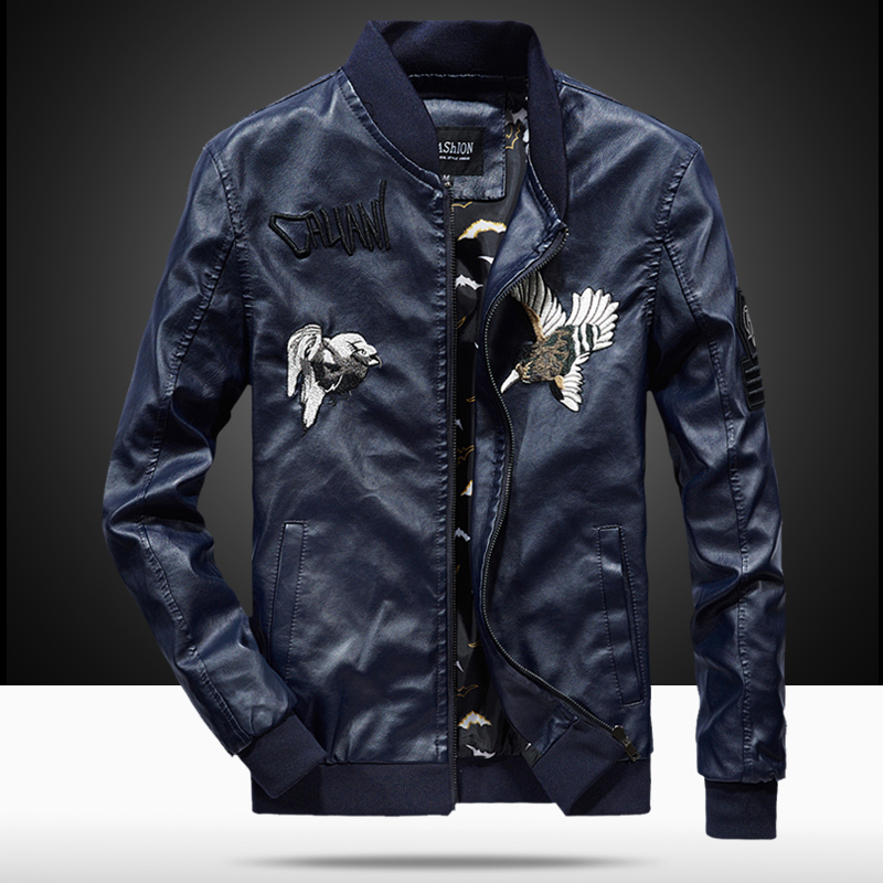 2019 Spring Autumn PU Leather Jacket Men Slim Fit Embroidery Coat Stand Collar Jackets Solid Color Casual Leather Coat WN43