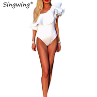 Singwing Ruffle Bodysuits Women Jumpsuit Romper SEXY Slash Neck Fashion Rompers Overalls Holiday Beach Playsuits White