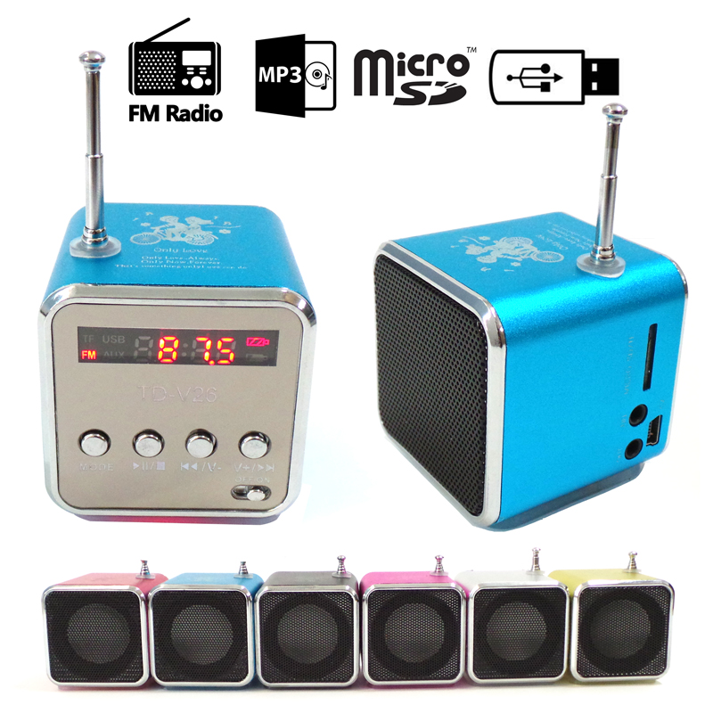 Handsfree Portable Mini Stereo Super Bass Speaker Amplifier Subwoofer FM Radio USB Micro SD TF Card MP3 Player TD-V26 brand new appj pa1601a vintage mini 6j1 6p4 tube amplifier desktop wifi usb sd card player 3w 3w silver