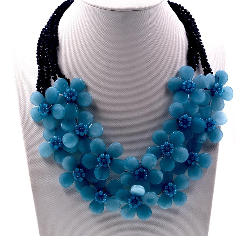 Noble Female Jewelry Handmade Blue Jades Stone Flower Choker Necklace Female Vintage Jewelry vintage knitted choker necklace