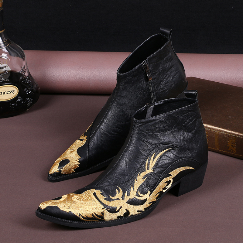 Fashion Dragon Embroidery Men Ankle Boots Genuine Leather Gold Dress Boots Cowboy Motorcycle Boots Men Formal Shoes Plus Size