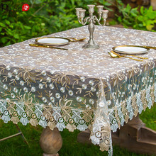 P Advanced Crochet Lace Tablecloth Translucent Table Cover Wedding Decoracion Country Floral Embroidery Elegant Decoration