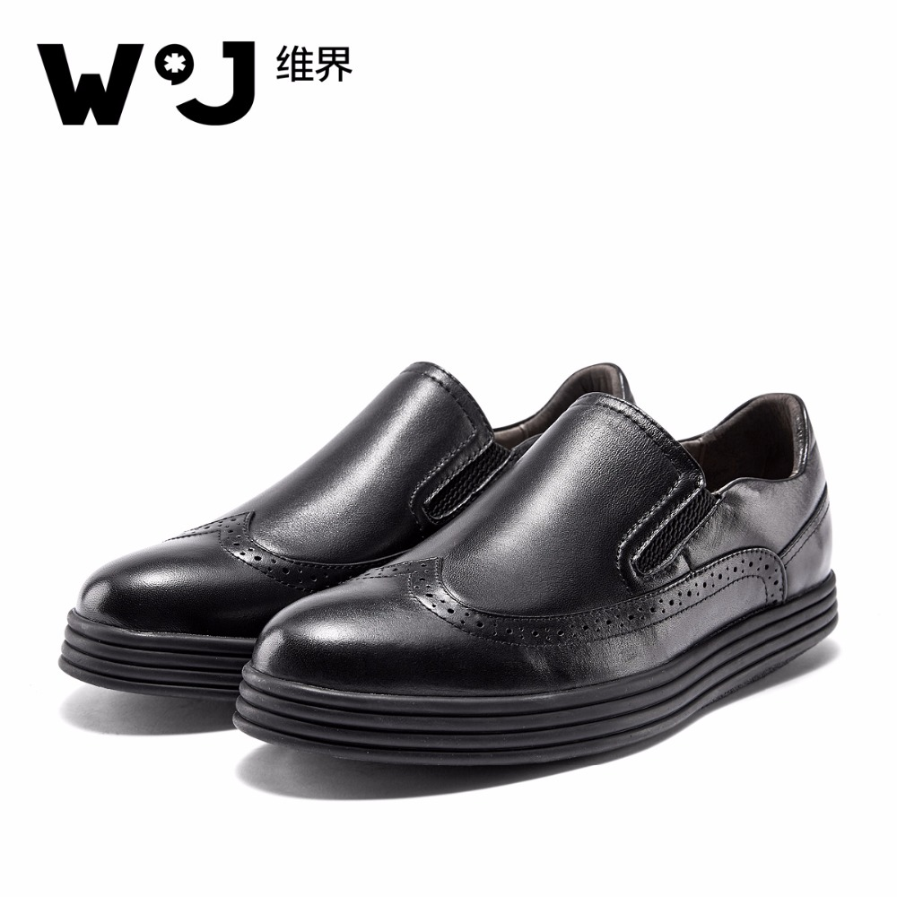 W.J Genuine Cow Leather Spring Summer Autumn Brogue Casual Shoes Men Loafers Slip On Thick Sole Elevator Black Men Shoes dxkzmcm new men flats cow genuine leather slip on casual shoes men loafers moccasins sapatos men oxfords