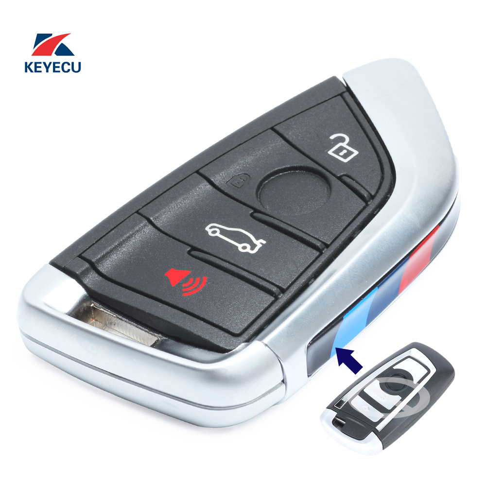KEYECU Replacement Modified Remote Car Key Fob 4 Button PCF7953 For BMW CAS4 CAS4+ F Chassis 5 7 Series 2012-2016, Black
