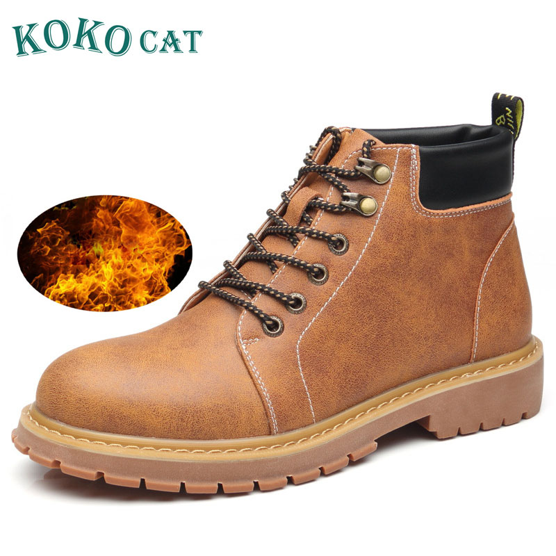 все цены на Brand Super Warm Men Winter Boots Leather Men Waterproof Rubber Snow Boots Leisure Boots England Retro Shoes for Mens Boots