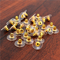 100pcs Earrings Jewelry Accessories Gold plated Rubber Back silicone round ear plugging blocked Earring Back Stoppers for DIY