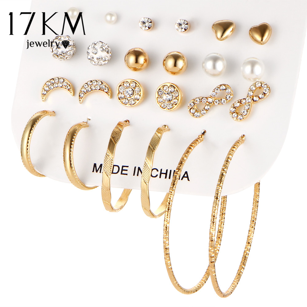 17KM Fashion Crystal Infinite Earrings Set For Women Bijoux s