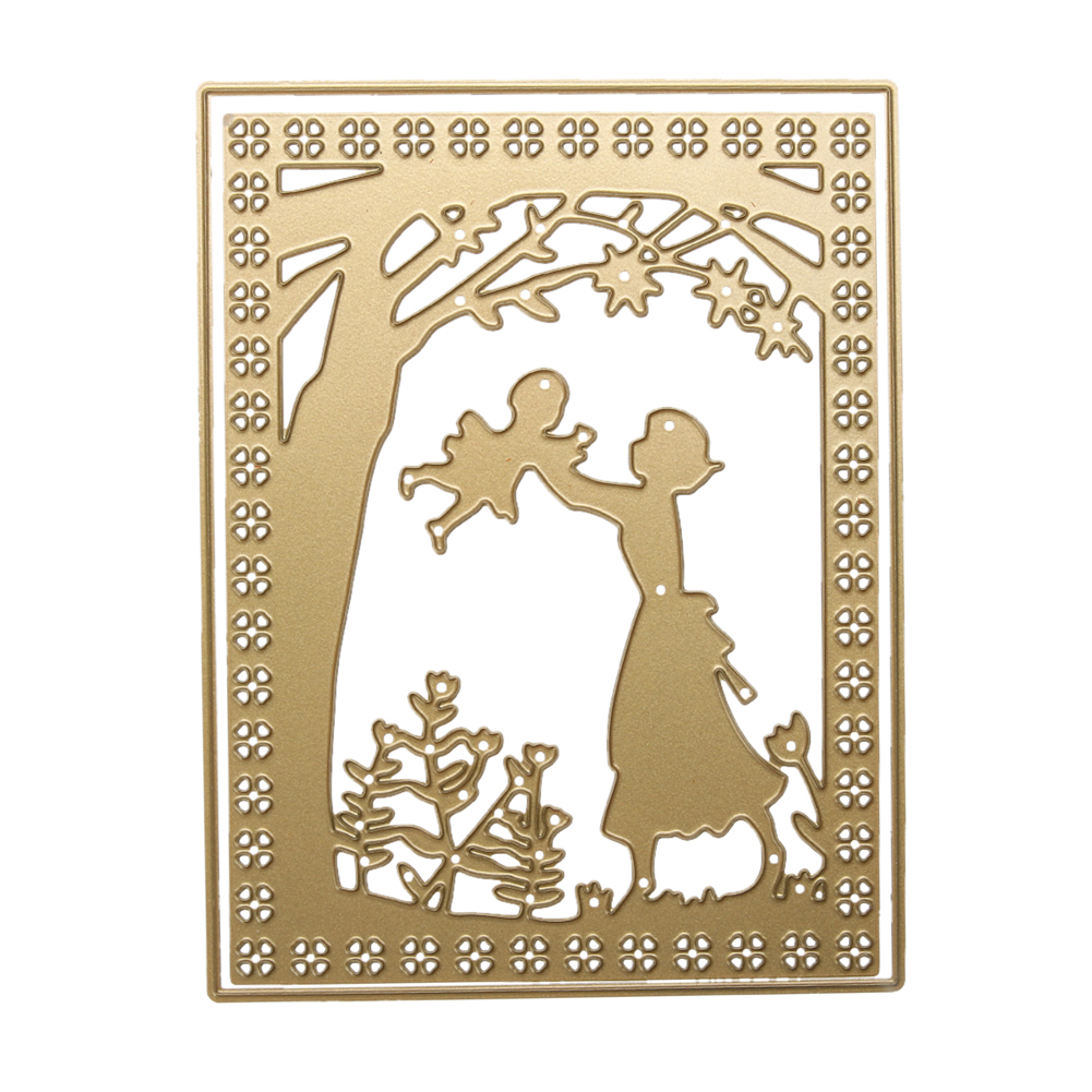 Gold Parents-child Campaign Set Metal Cutting Dies Scrapbooking Die Cuts Stencil DIY Cards Photo Album Decorative Embossing Dies