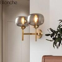 Пост современная медная настенная лампа Led Бра промышленное стекло настенное зеркало с подсветкой спальня ванная комната лестницы домашни