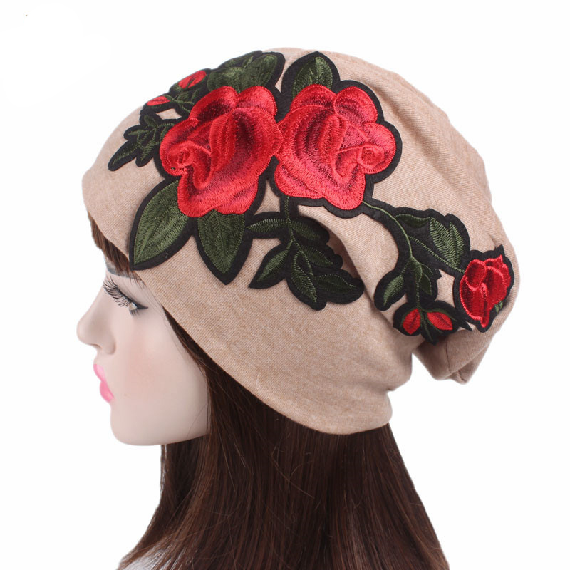 Titmsny 2017 New Large Caps Big Size Rose Flower Embroidery Slouch Beanie Jersey Skull Hat Women Lady Floral Hats Confinement