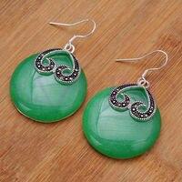 Whosale vintage yeşil Doğal Taş zarif kraliyet Tibet gümüş küpe