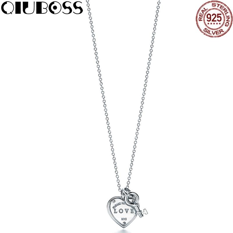 QIUBOSS Trendy Heart & key Necklace Brand TIFF 925 Streling silver Pendant Charm Women Necklace Jewelry цена 2017