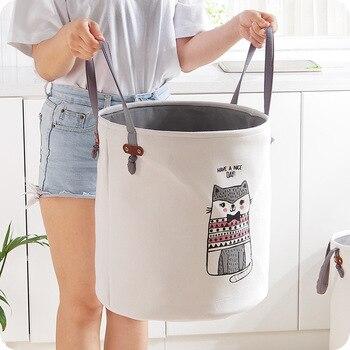 EVA ผ้าใบพับตะกร้าซักผ้าการ์ตูน Barrel ยืนของเล่นเสื้อผ้าถังซักผ้า Organizer เสื้อผ้าผู้ถือ