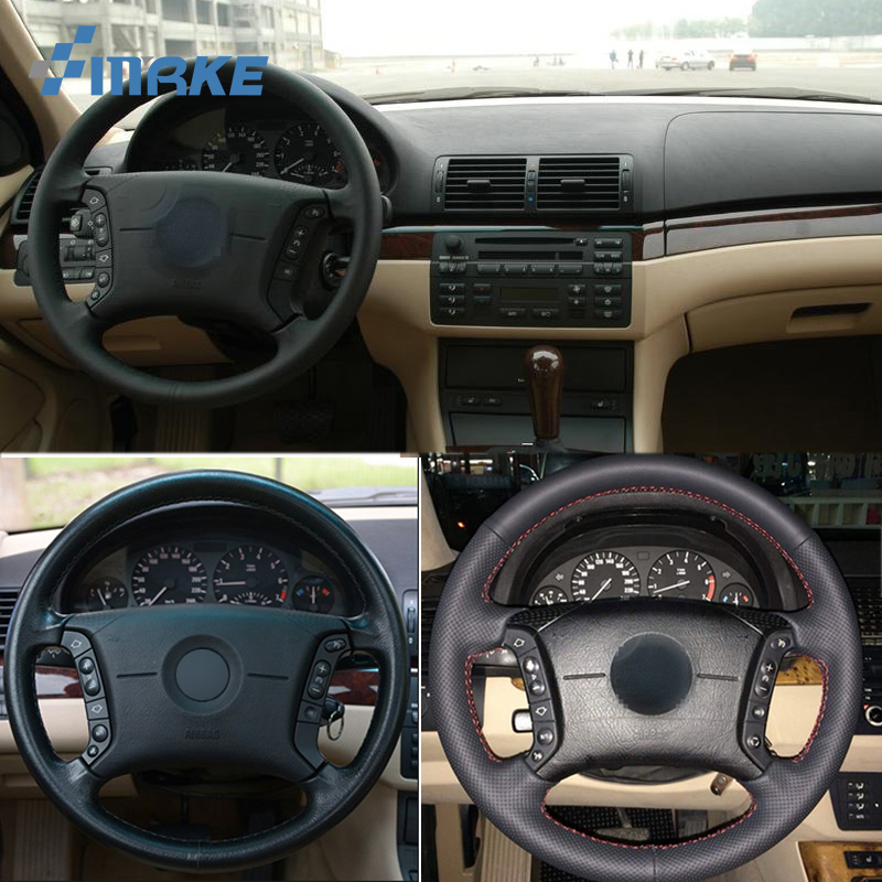 For BMW E46 318i 325i E39 E53 X5 High Quality Hand stitched Anti Slip Black Leather Red Thread DIY Steering Wheel Cover