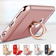 Роскошный металлический палец кольцо стоять телефона Чехлы для iPhone 7 6 6 S Plus 3 в 1 Съемный 360 Полный защитная крышка для iPhone 5 5S SE