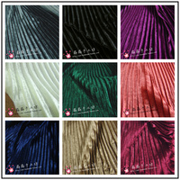Pure DIY and soft pleat accordion fold fabric crumpled golden velvet skirt strapless dress fabric electro optic fabric