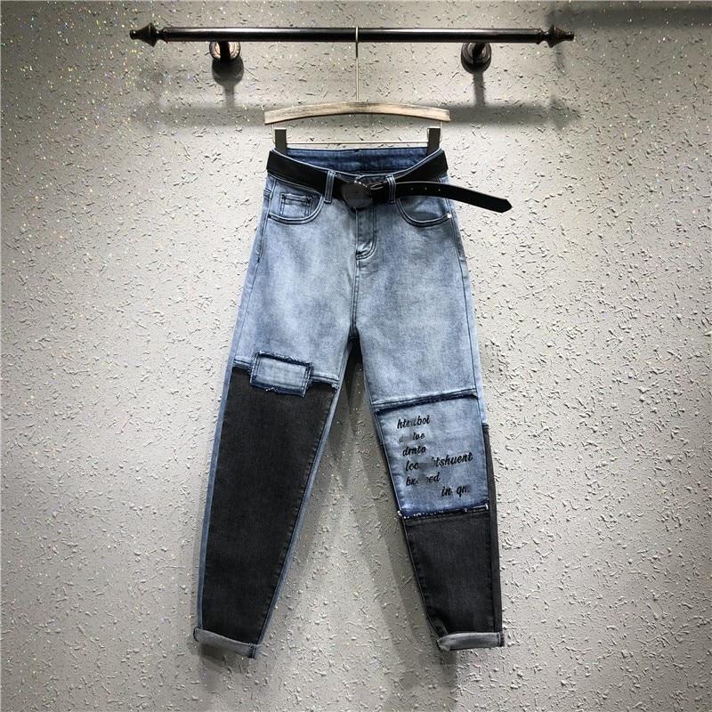 Vaqueros blue Carta Harem Bordado Hip Denim Pantalones Gray Patchwork Azul De Europea Verano 2019 Loose Mujer Gris Hop f4zWxTwqv