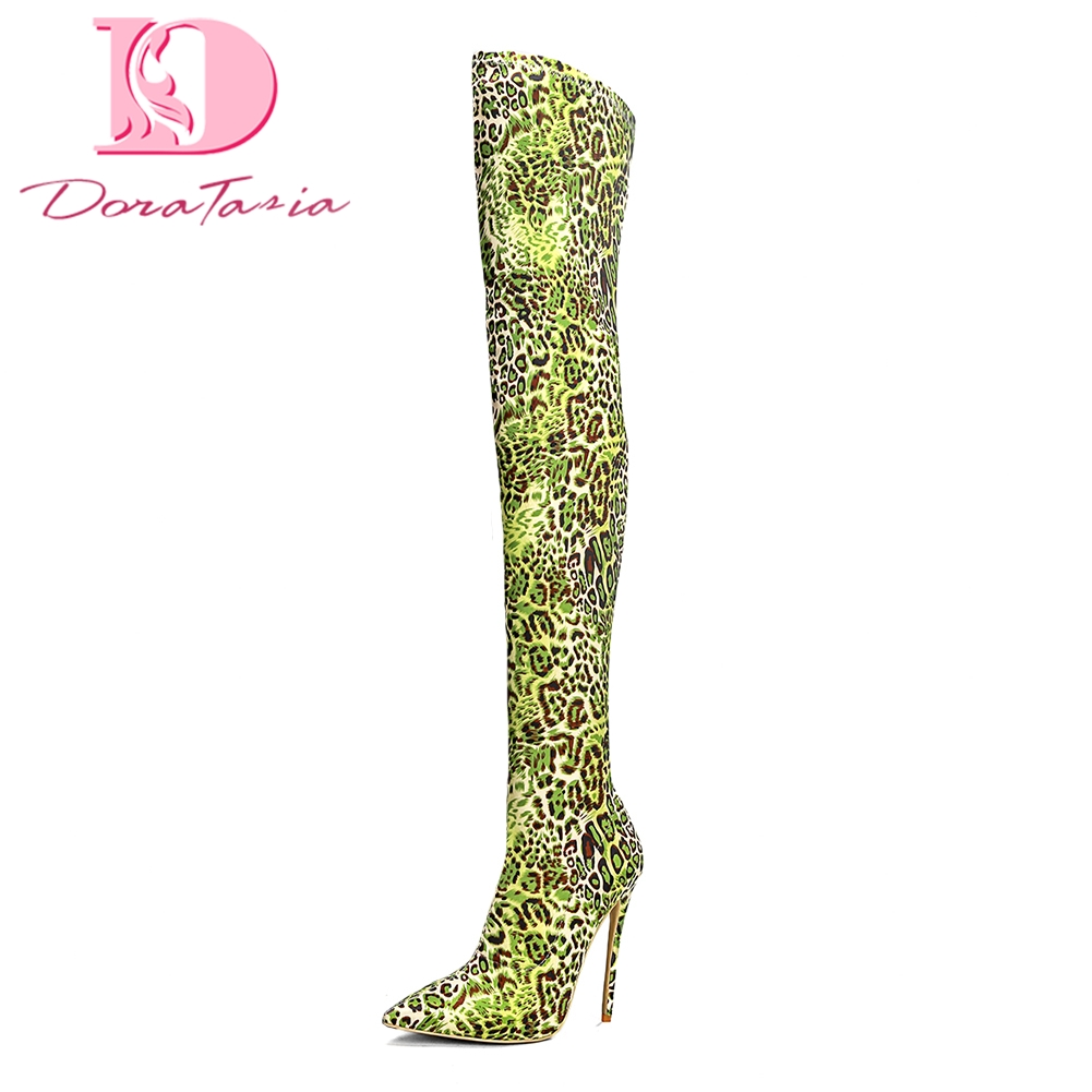 DoraTasia Brand New Top Quality Plus Size 33-43 Pointed Toe Over The Knee Boots Woman Shoes Sexy High Heels Boots Shoes Woman doratasia brand new plus size 33 43 sexy thin high heels party winter boots women shoes fashion over the knee boots shoes woman