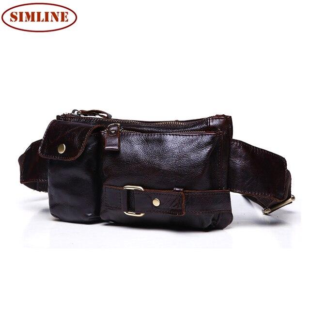 Alta Calidad de La Vendimia 100% del Zurriago del Cuero Genuino Genuino de Los Hombres de La Cintura bolso del Paquete del Pecho Del Hombro Cross Body Bag Bolsas Pakcs Por hombre