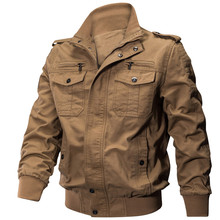 Baseball military pilot jacket large mens casual zipper air force flying cotton coat solid color