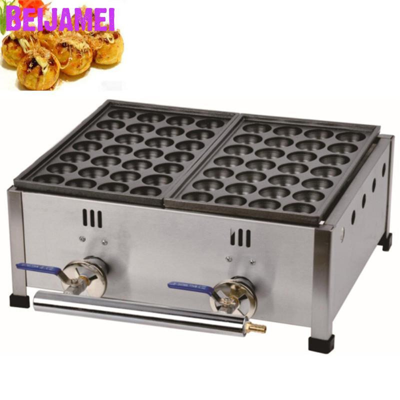 Ev Aletleri'ten Waffle Makineleri'de BEIJAMEI Gaz takoyaki ızgara ekipmanları iki tabak ticari gaz takoyaki yapma makinesi Japon Tarzı Takoyaki yapımcısı title=