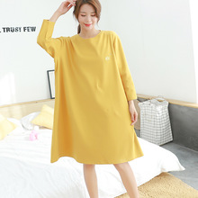 0788e18719 night dress women lingerie 2018 winter home clothing loose long-sleeved  nightdress cotton outwear embroidery