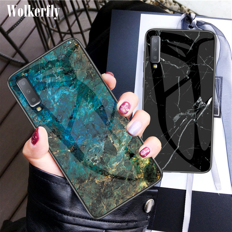 Marble <font><b>Glass</b></font> <font><b>Case</b></font> For <font><b>Samsung</b></font> <font><b>Galaxy</b></font> S10E S9 S8 Note10 Plus S20 Ultra M30S A10 A20 A30 A40 A50 A70 A71 A51 J4 J6 A7 2018 <font><b>Case</b></font> image