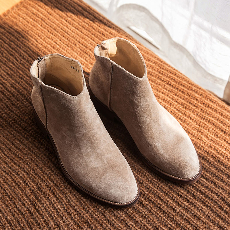 BeauToday Ankle Boots Genuine Leather Top Quality Zipper Autumn Winter Fashion Lady Cow Suede Shoes Handmade 03274 in Ankle Boots from Shoes