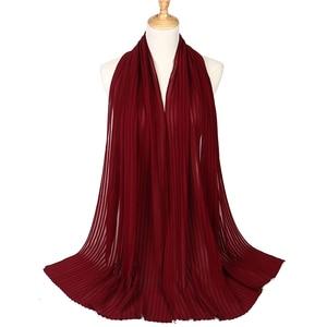 Шали из вспененного шифона, однотонные сморщенные шали, плиссированная повязка для головы хиджаб, мусульманские шарфы/шарф, большой размер 90*180 см