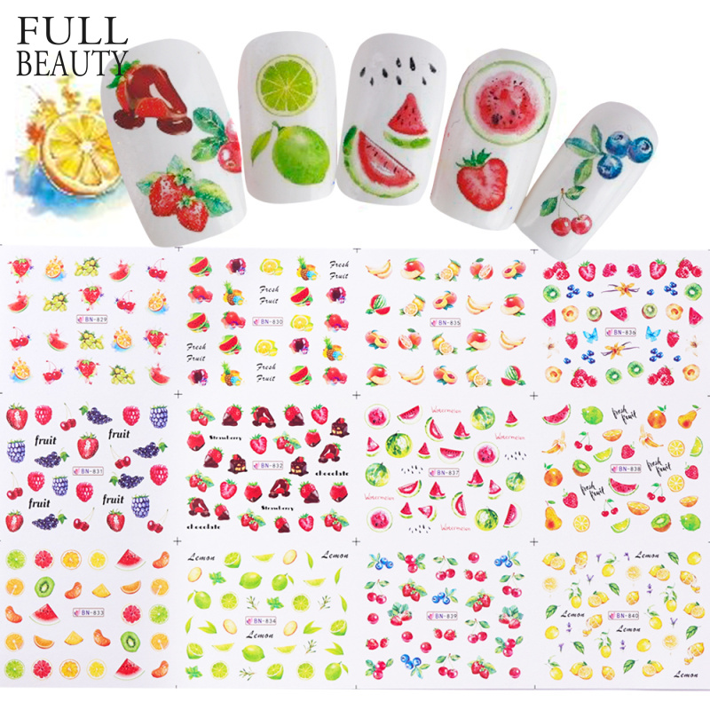 Summer Nails 12 Designs Nail Water Sticker Set Fruit Lemon Slider Nail Art Transfer Decal Colorful Charm Decor CHBN829-840-1