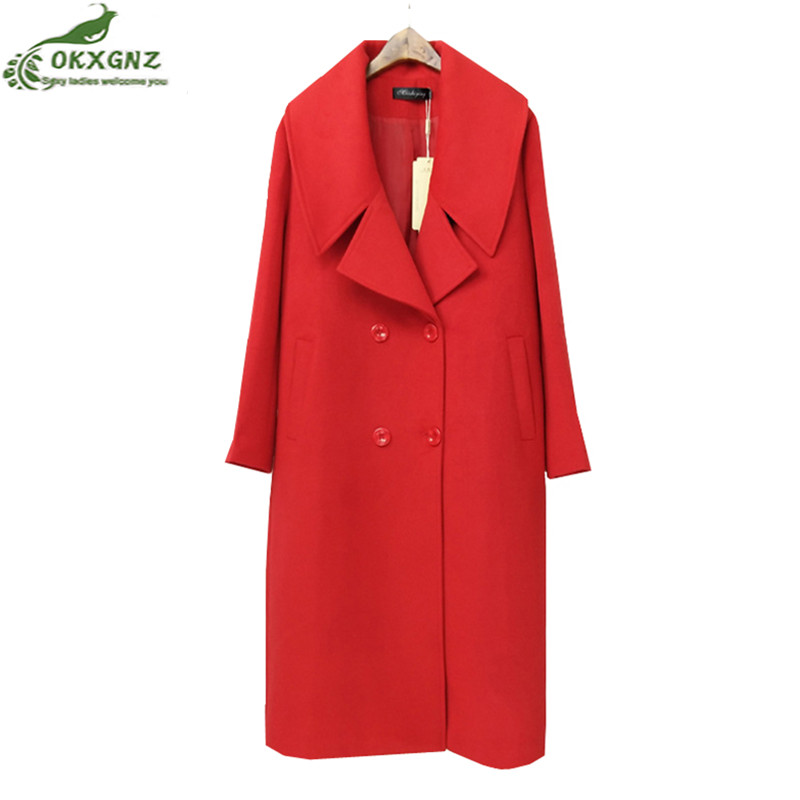 2019 Autumn Winter Women Wool Coat Loose Imitation Cashmere Outerwear Padded Lining Overcoat Fashion size XL