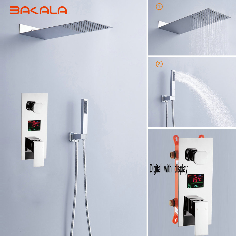 Luxury Rain Bath Combination  Shower Mixer Digital Wall Mounted Stainless Steel 20 Rainfall Shower Head Chrome Polished Shower l440mm screw rod with feed screw nut m18x 1mm tooth pitch used in wire winding drum of mingzhu bright pearl wire edm machines