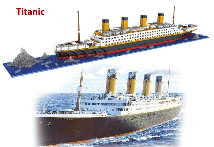1860 Pcs Building Blocks Titanic Ship Model Building Blocks School Educational Supplies Toys Childern Gift rikuzo titanic ship model building block set 1860pcs nano micro blocks mini legoing lepin diy toys gift