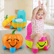 Cute Training Folding Potty Plastic Chair Cartoon Pumpkin Baby Toilet Seat Toddler Portable cartoon baby boy girls folding toddler potty toilet trainer safety seat chair step with adjustable ladder training penico toilet