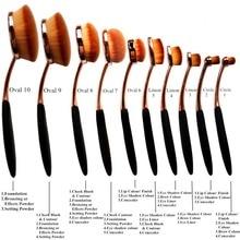 2016 Venta Caliente Maquiagem Nuevo Rose Oro 10 unids Diente cepillo de Forma Ovalada Cepillos Del Maquillaje MULTIUSOS Powder Foundation Brush Kit