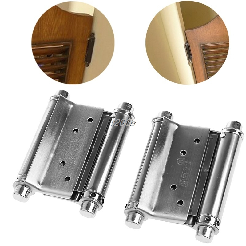2Pcs 3 Inch Stainless Steel Double Action Spring Hinge Saloon Cafe Door Swing Household T12 Drop ship 8 inch stainless steel double action concealed door silver spring hinges for saloon cafe door shop swing door 2pcs