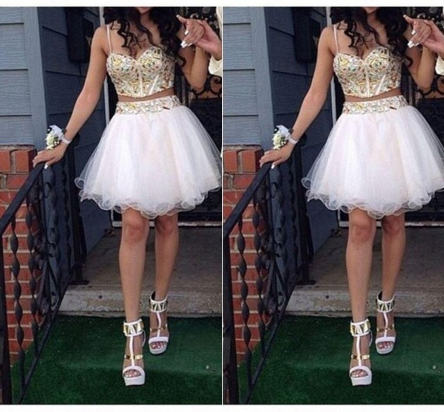 Gold Crystal White Two Pieces 2016 Real Pictures Sexy Spaghetti Straps Short prom font b dress